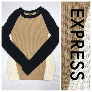 Express Knit Pullover Sweater XS EUC Tan/Blk/Cream